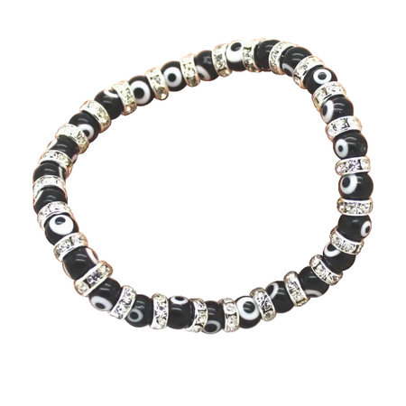 Evil Eye Chain Link Bracelet White