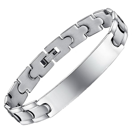 Plain Stainless Steel Engraved Bracelet