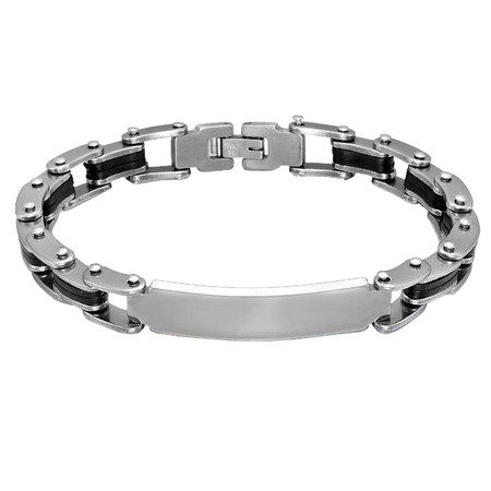 Bike Chain Steel Engraved Bracelet