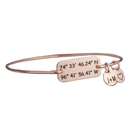 Customized Anniversary Coordinates Bracelet