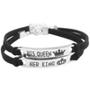 Silver Plated King / Queen - Couple Bracelet
