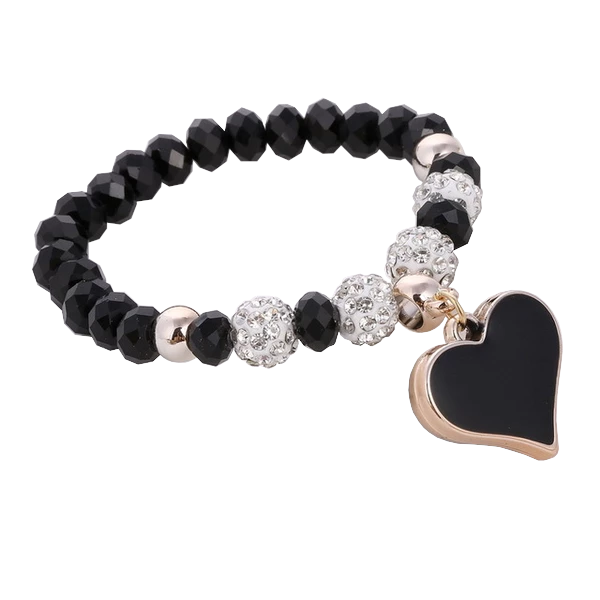 Lovely Heart Crystal Bead Bracelet