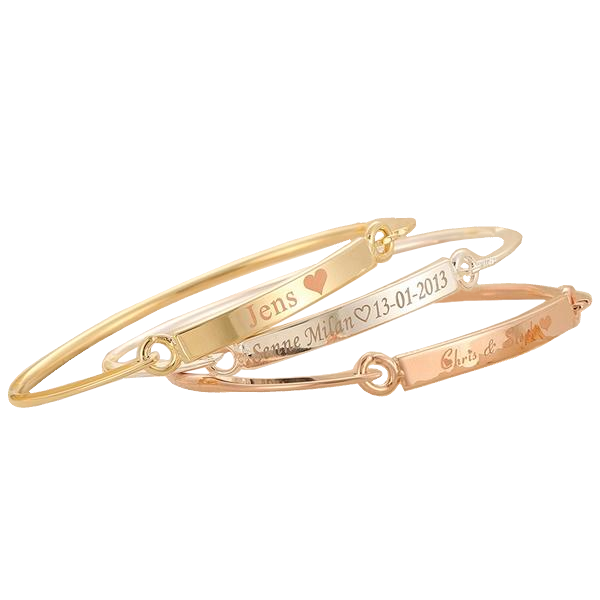 Gold Bangle Engraved Bracelet