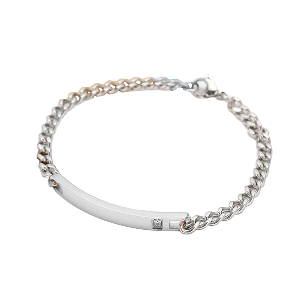 Lovely Bar Chain Engraved Bracelet
