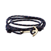 Gold Anchor Leather Bracelet for Men