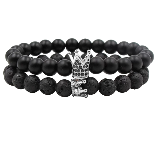 King and Queen Black Distance Bracelet