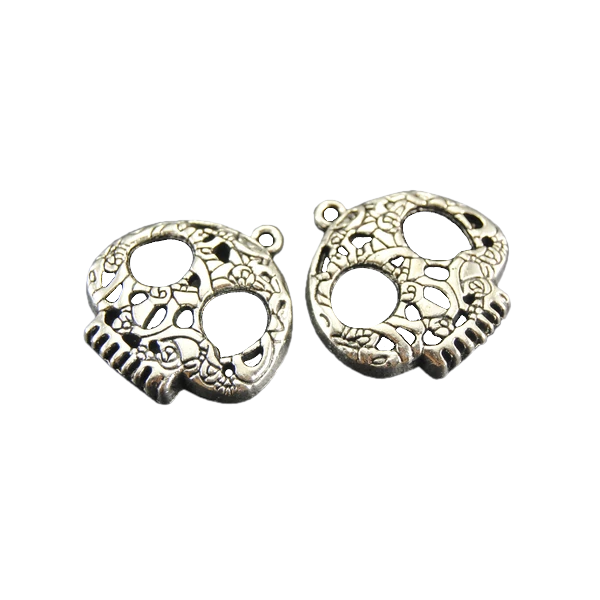 Silver Filigree Skull Charms for Bracelet