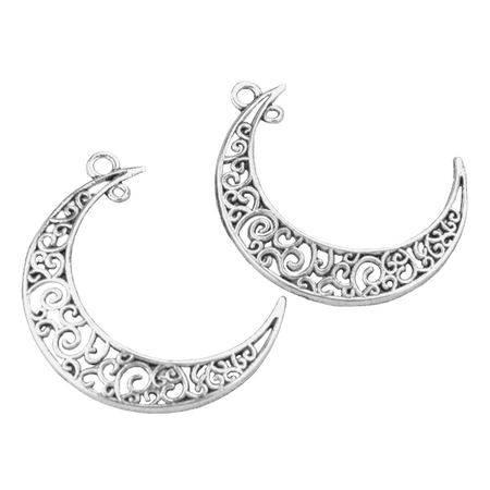 Silver Crescent Moon Charms for Bracelet