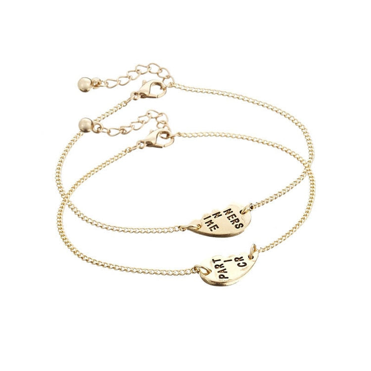 Gold Plated Heart Puzzle Sister Bracelet