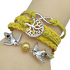 Multi-Color Vintage Bird Wrap Bracelet