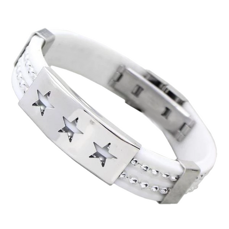 Silver Stars Stainless Steel Silicone Bracelet