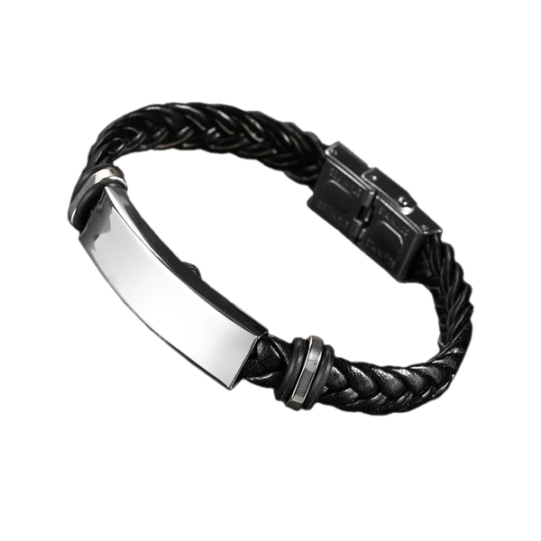 Braided Black Leather Engraved Bracelet