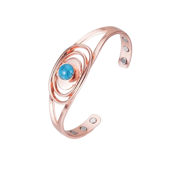 Open Cuff Copper Bracelet with Blue Stone
