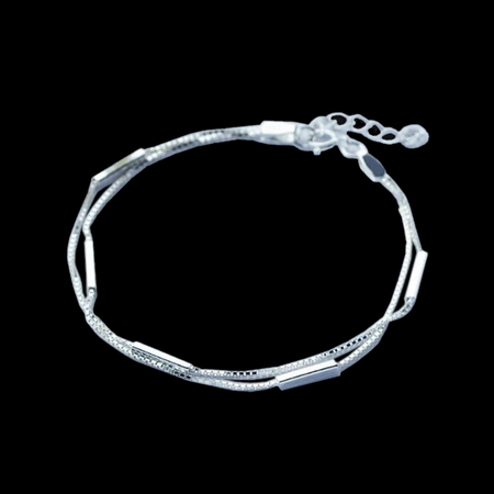 925 Sterling Silver Bar Round Stick Bracelet