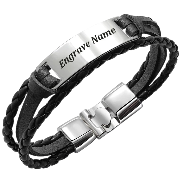 Fashionable Vintage Leather Engraved Bracelet