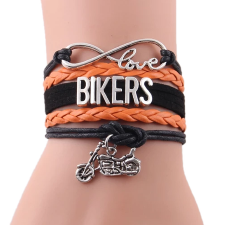 Multi-Color Leather Biker's Infinity Wrap Bracelet