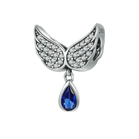 925 Sterling Silver Angel Wings - Teardrop - Charms for Bracelet