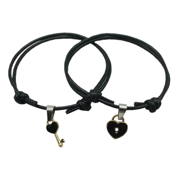 Charming Lock and Heart Couple Bracelet