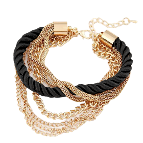 Multi-Layer Gold Color Chain Bracelet for Women