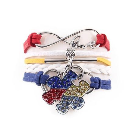 Multi-Color Autism Awareness Leather Wrap Bracelet