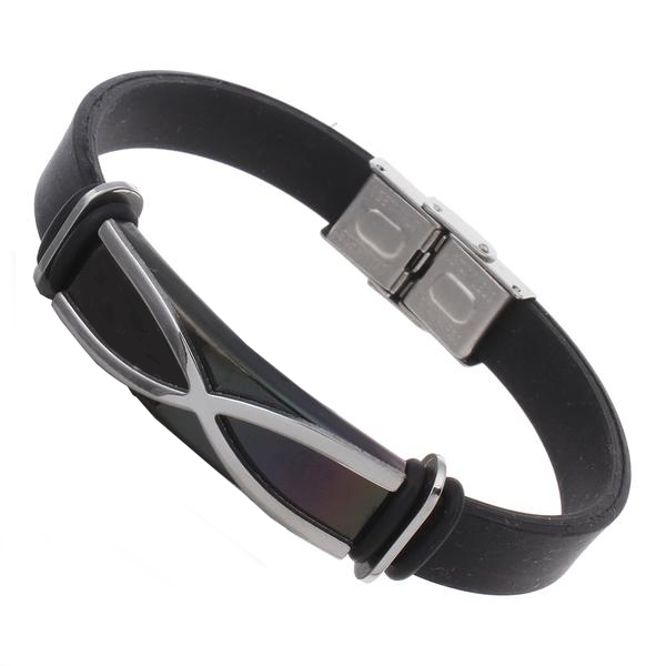 X - Stainless Steel - Rubber Bracelet