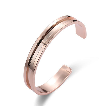 Ridged Open Cuff Copper Bracelet