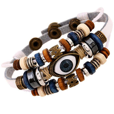 Genuine White Leather Evil Eye Bracelet
