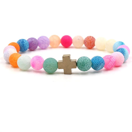 Weathered Stone Beads Cross Bracelet