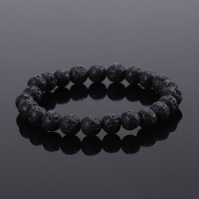 Black Lava Stone - Men's Beaded Bracelet