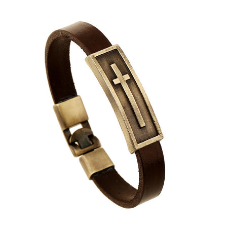 Brass Pendant Leather Bracelet