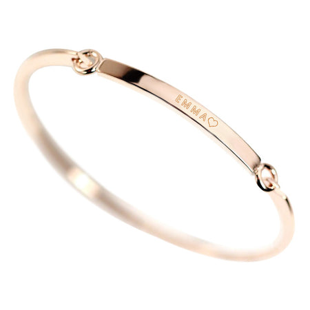 Personalized Gold Bar Bangle - Copper Bracelet