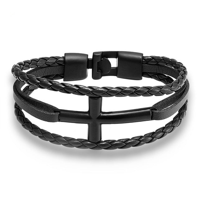 High Quality Leather - Cross Bracelet
