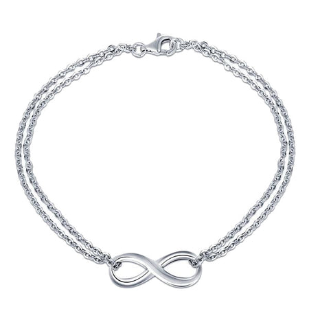 925 Sterling Double Chain Silver Infinity Bracelet
