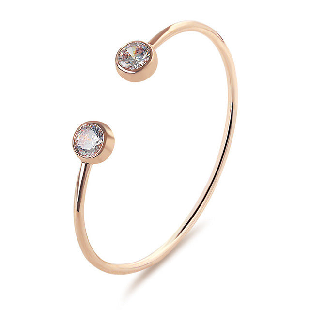 Micro Inlay Crystal Open Bangles Rose Gold Bracelet