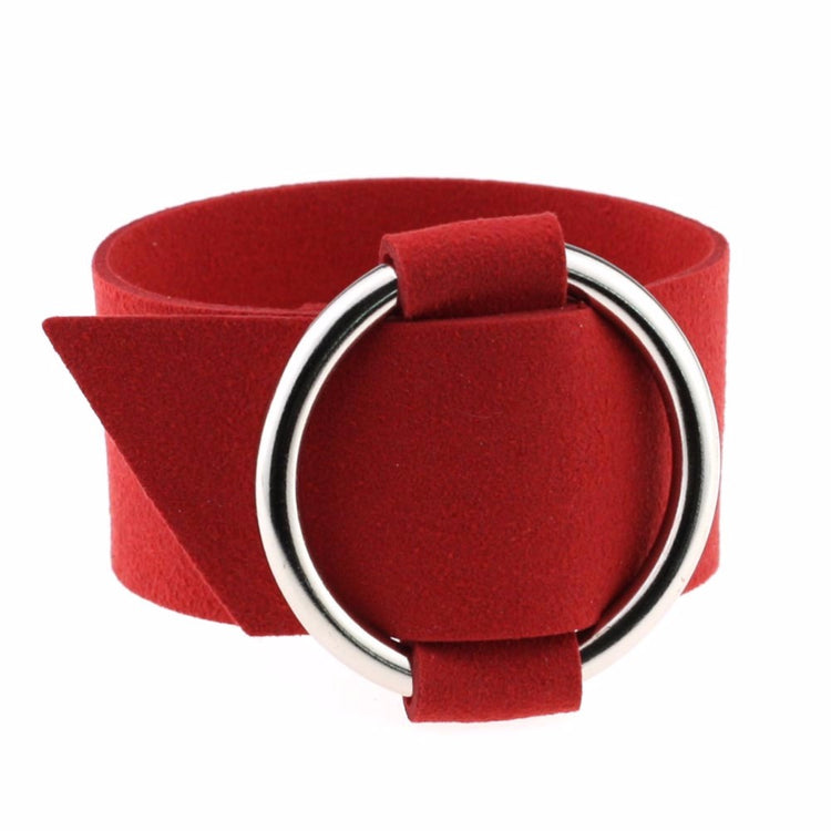 Multi-Color Wide Velvet Leather Wrap Bracelet