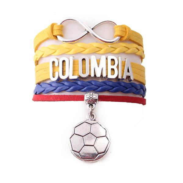 Yellow / Blue Colombia Soccer Leather Wrap Bracelet