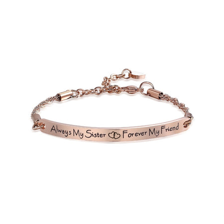 Multi-Color Engraved Bar Sister Bracelet