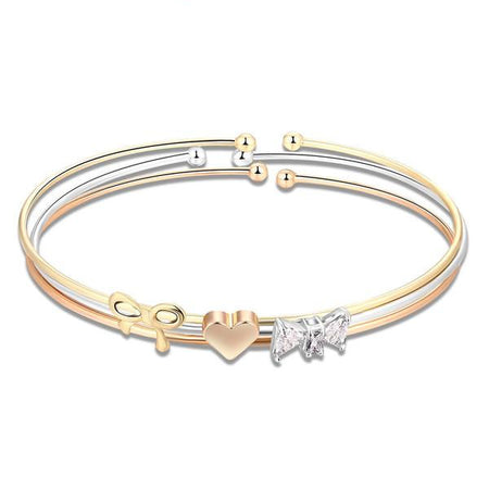 Gold Silver Three Layers Heart Sister Bracelet