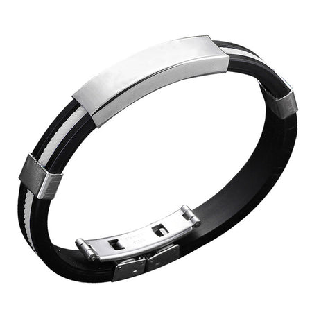 Fashion Stainless Rubber Bracelet