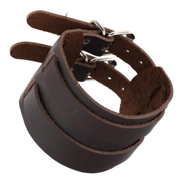 Double Buckle Men's Leather Bracelet