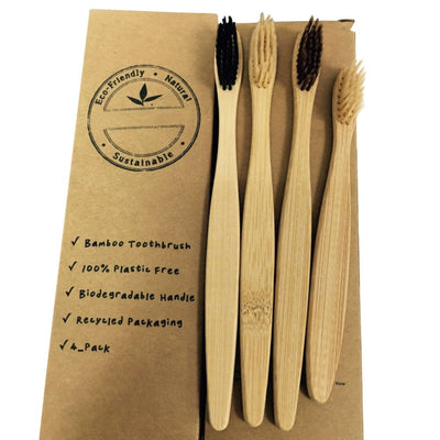 4 Piece Charcoal Bamboo Toothbrush Set