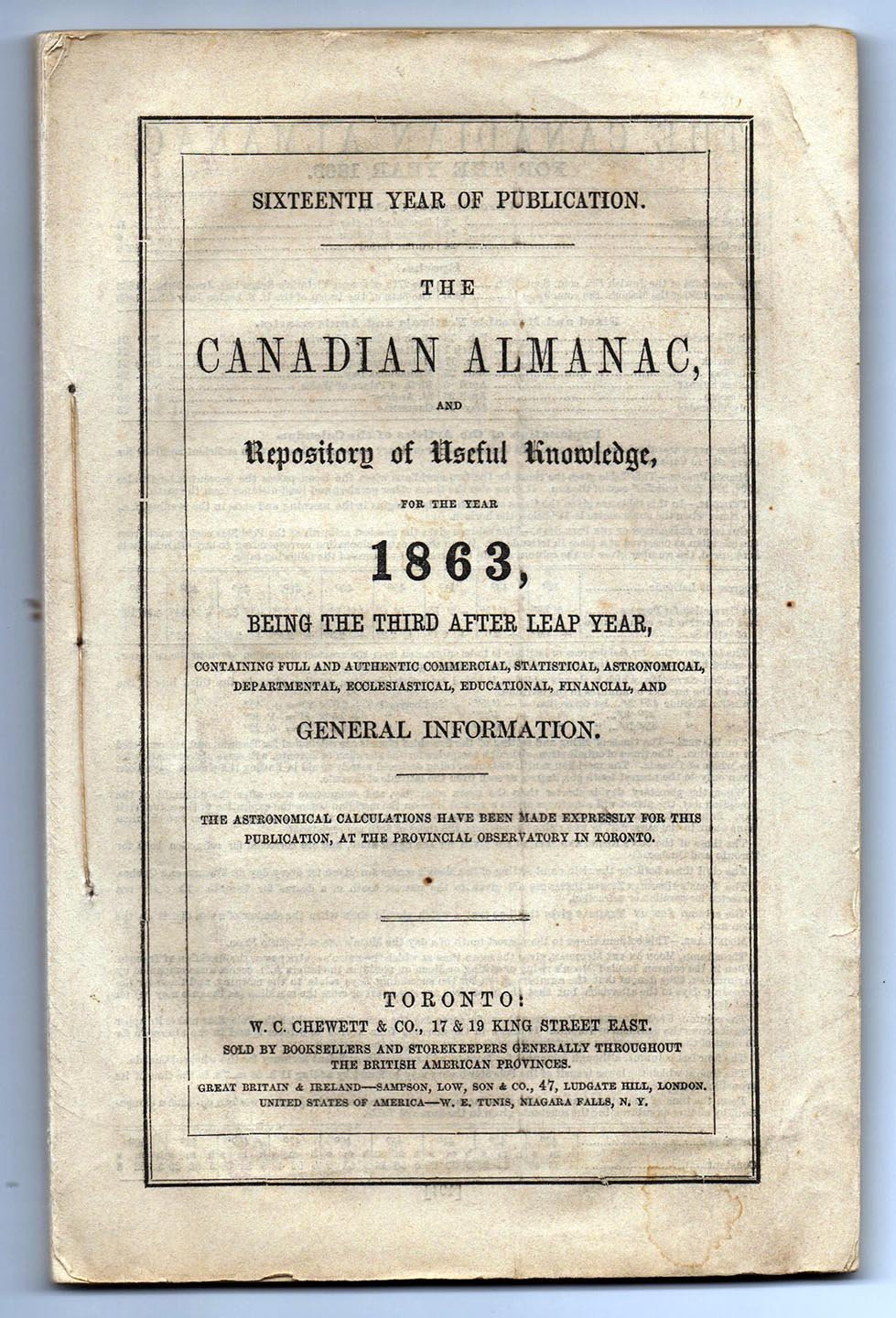 The Canadian Almanac and Repository of Useful Knowledge for the Year 1863