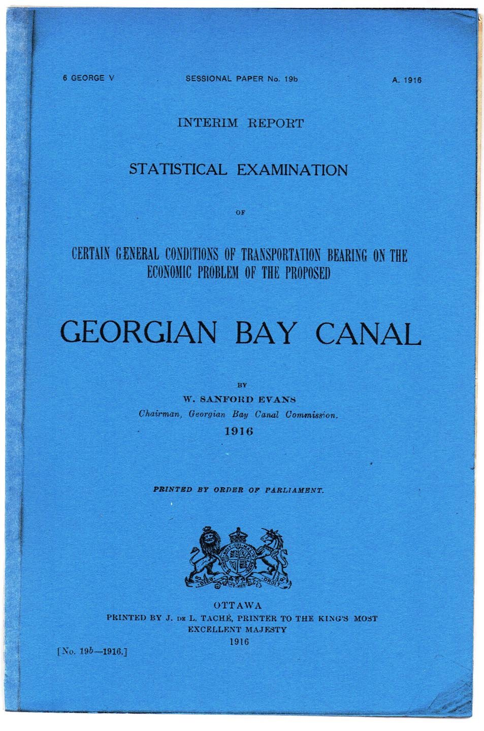 Interim Report. Statistical Examination of Certain General Conditions of Transportation Bearing on Economic Problem of the Proposed Georgian Bay Canal
