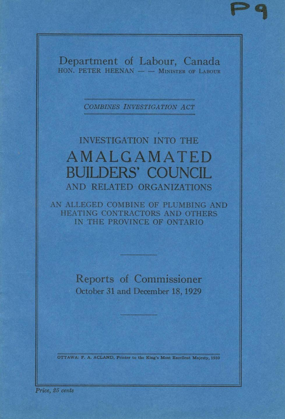Investigation into the Amalgamated Builders' Council and Related Organizations