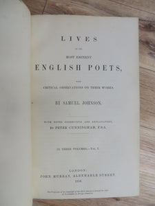 Lives of the Most Eminent English Poets with Critical Observations on Their Works