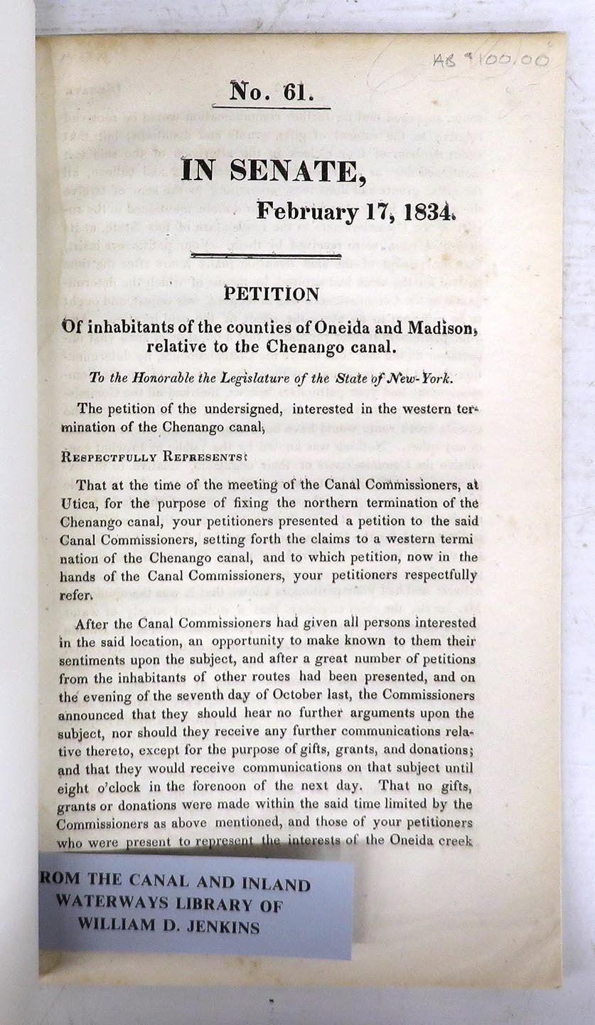 Petition of Inhabitants of the Counties of Oneida and Madison, Relative to the Chenango Canal