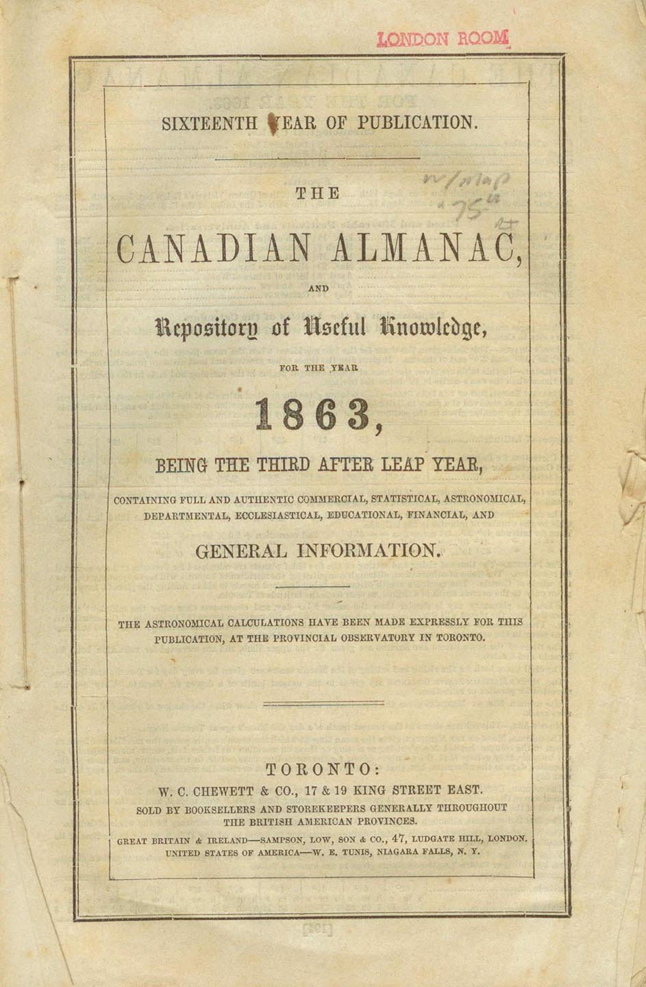The Canadian Almanac, and Repository of Useful Knowledge for the year 1863