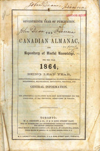 The Canadian Almanac, and Repository of Useful Knowledge for the Year 1864