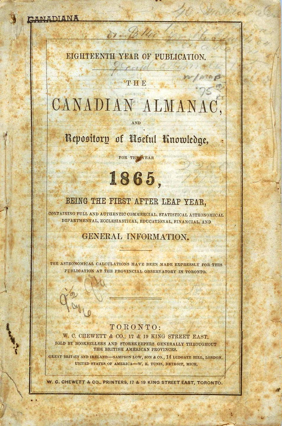 The Canadian Almanac, and Repository of Useful Knowledge for the Year 1865