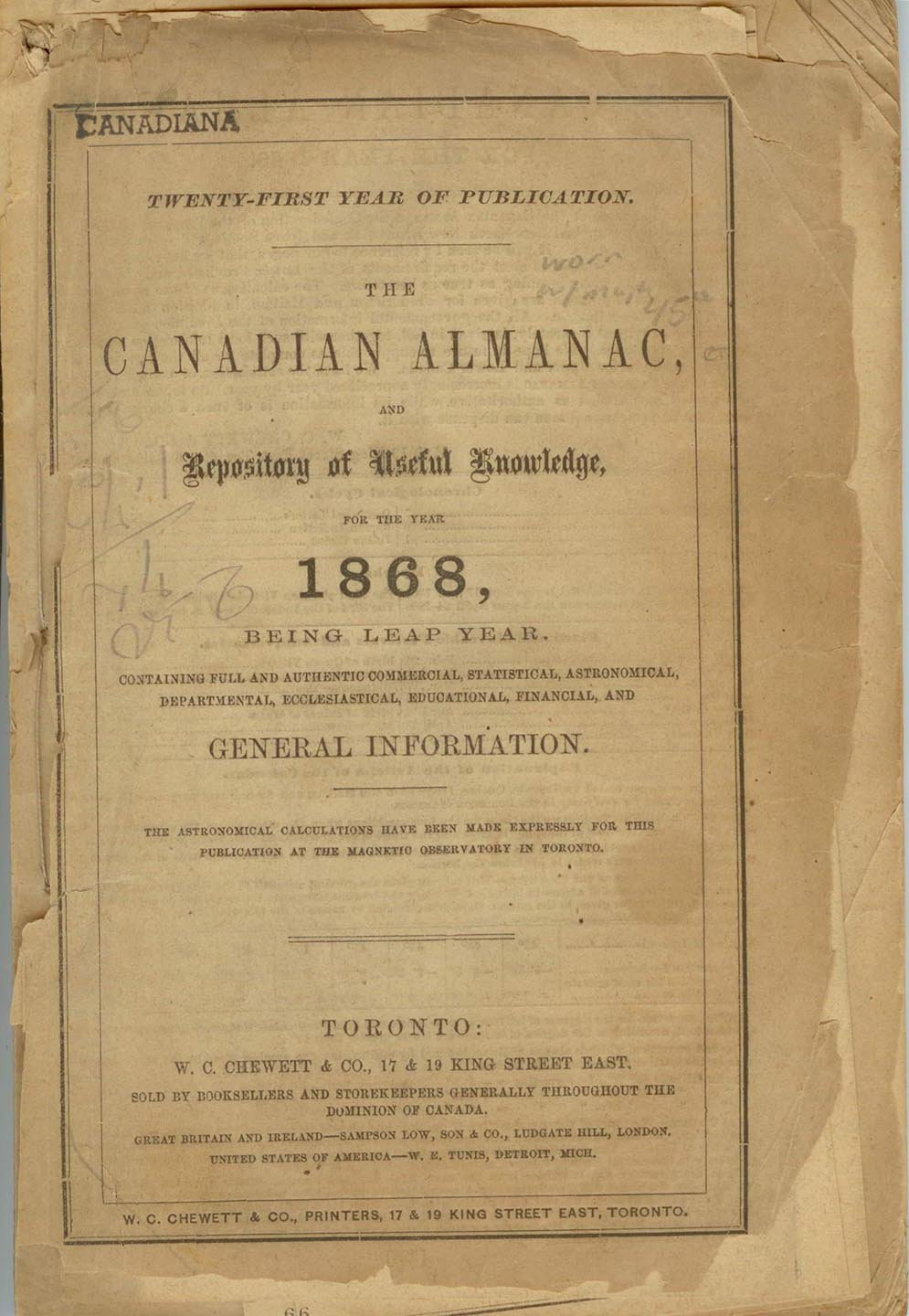 The Canadian Almanac, and Repository of Useful Knowledge for the Year 1868